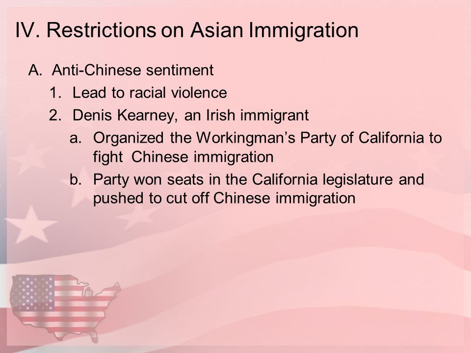 IV. Restrictions on Asian Immigration
