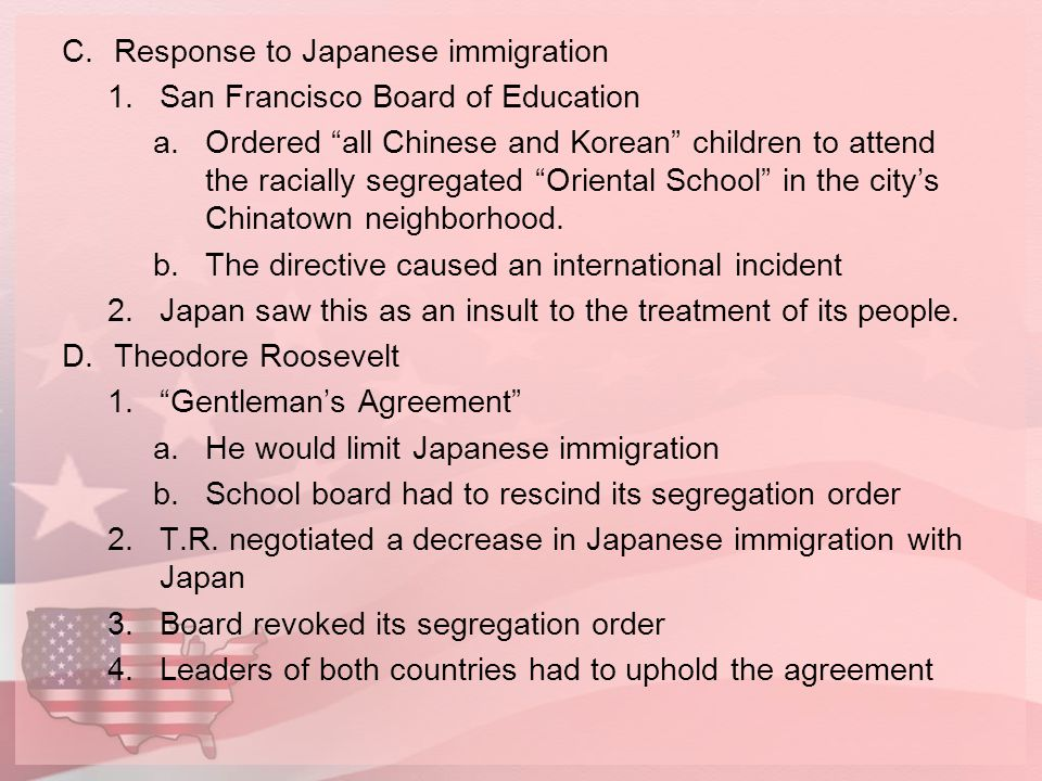 Response to Japanese immigration