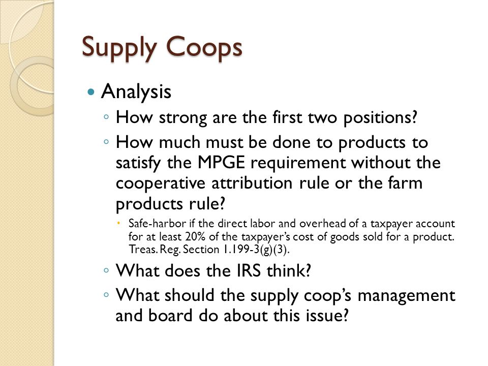 Supply Coops Analysis How strong are the first two positions