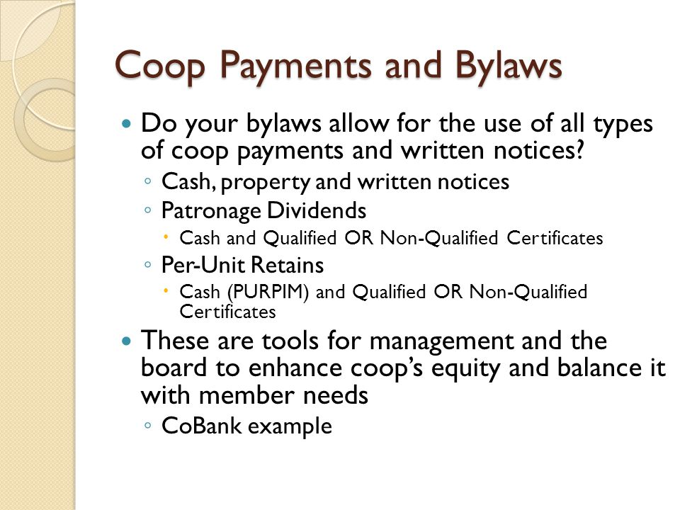 Coop Payments and Bylaws
