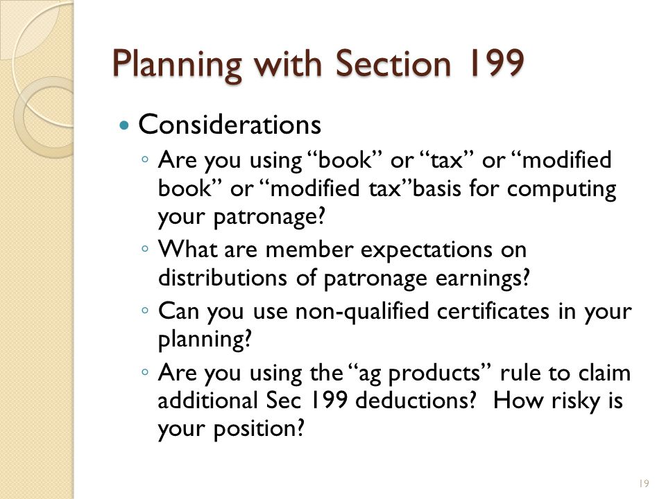 Planning with Section 199 Considerations
