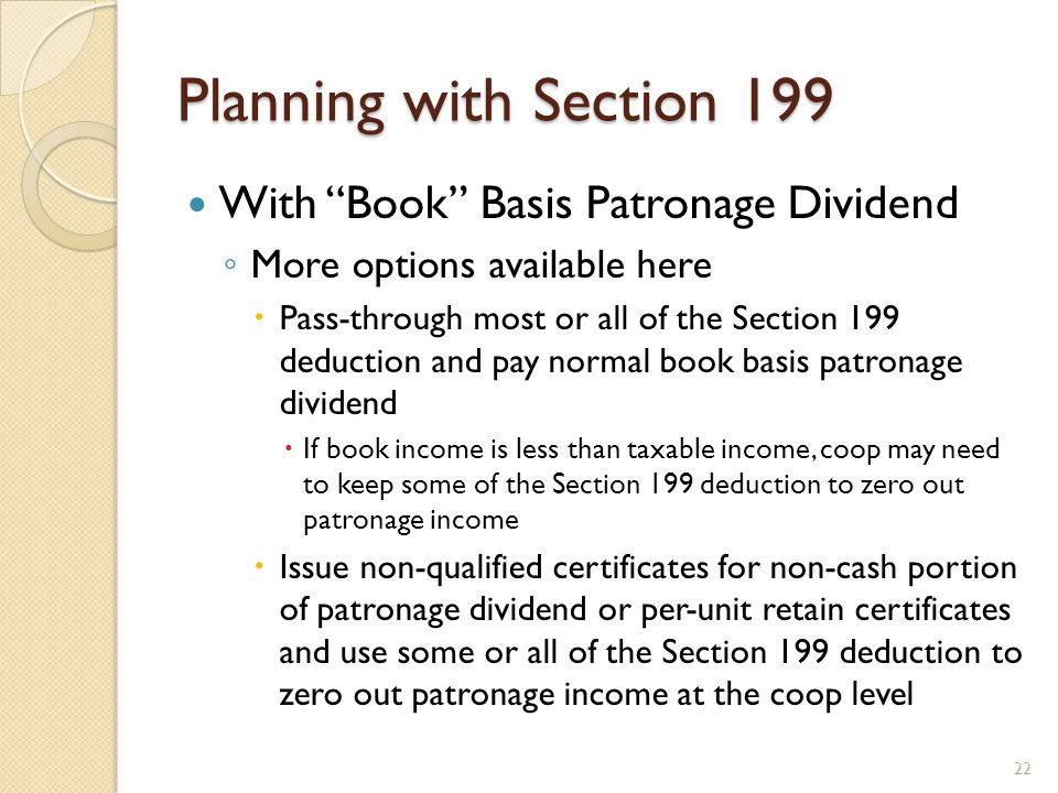 Planning with Section 199 With Book Basis Patronage Dividend