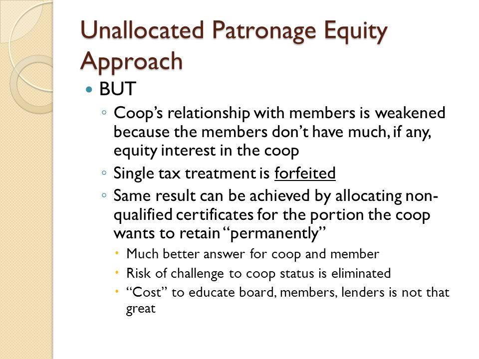 Unallocated Patronage Equity Approach