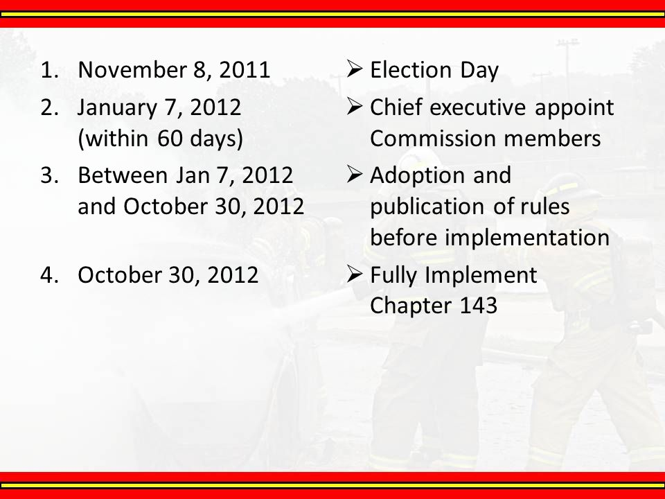 November 8, 2011 January 7, 2012 (within 60 days) Between Jan 7, 2012 and October 30, 2012. October 30, 2012.