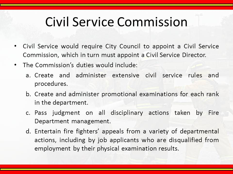 civil service commission Look through a list of civil service commission members.