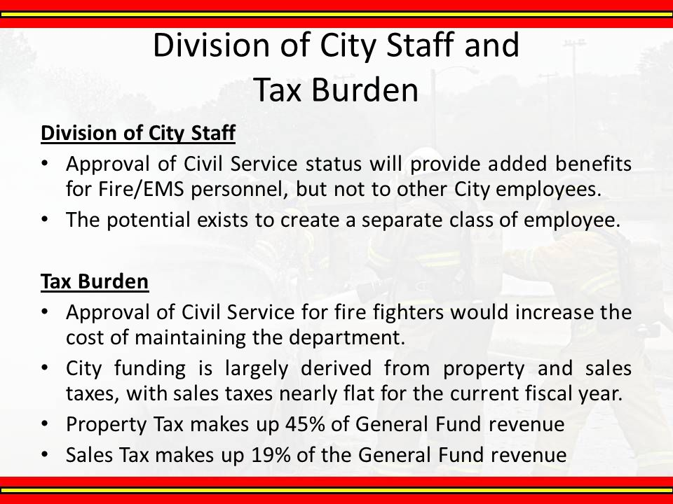 Division of City Staff and Tax Burden