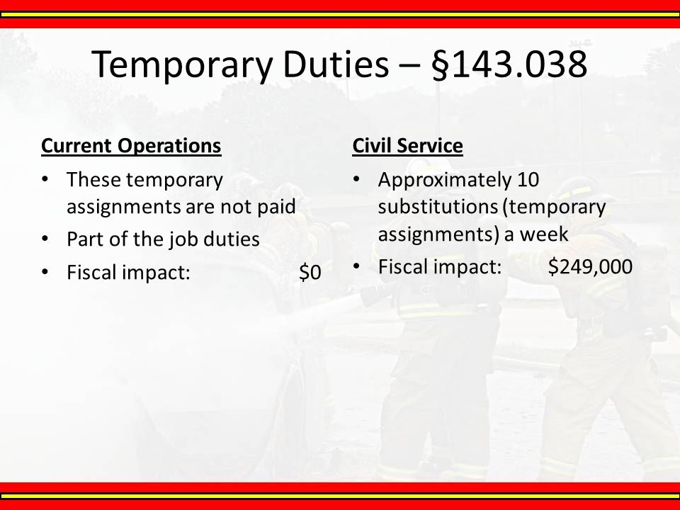 Temporary Duties – §143.038 Current Operations Civil Service
