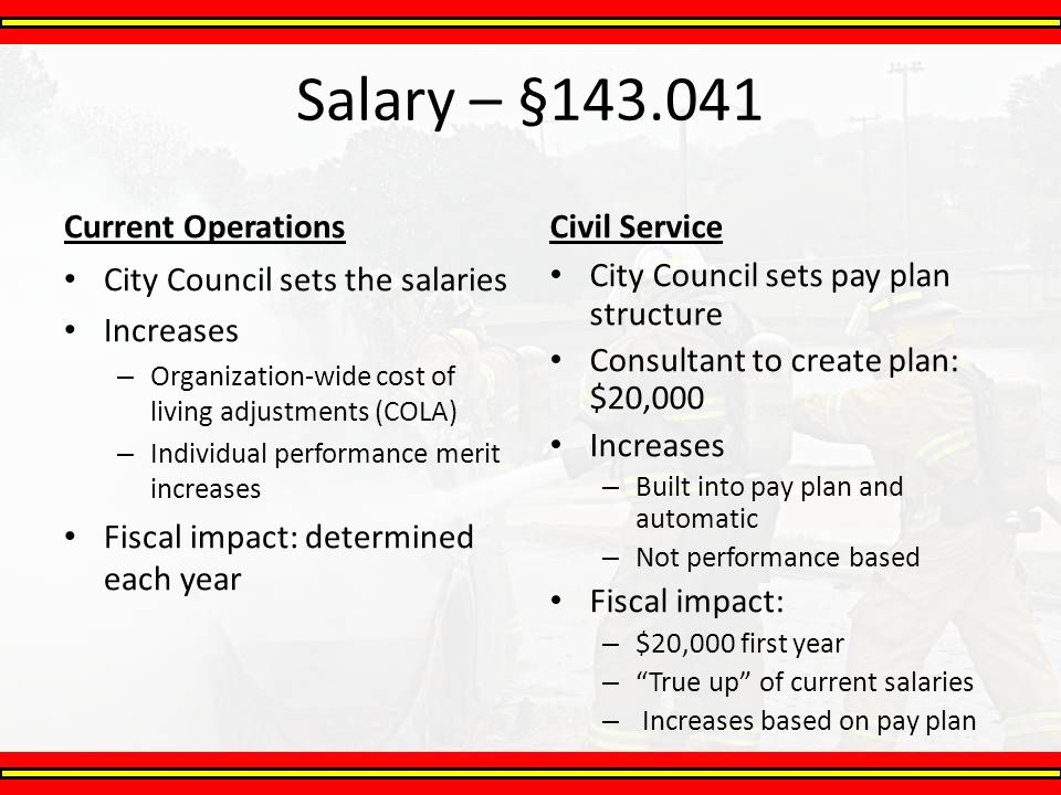 Salary – §143.041 Current Operations Civil Service