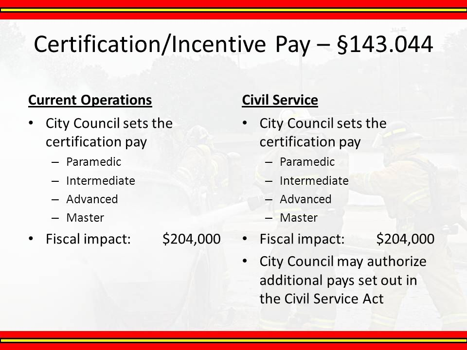 Certification/Incentive Pay – §143.044