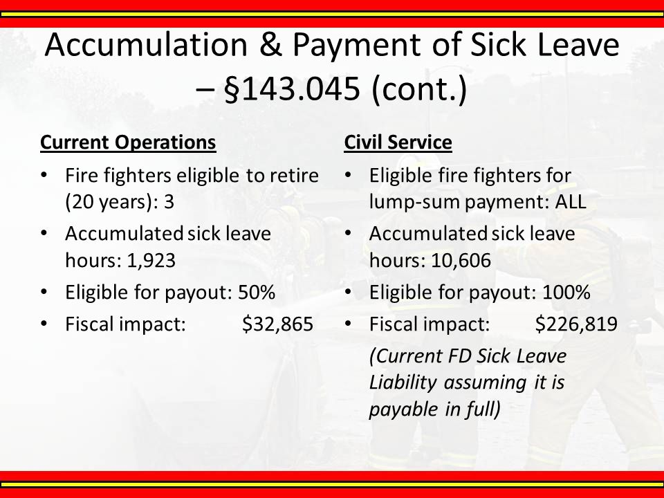 Accumulation & Payment of Sick Leave – §143.045 (cont.)