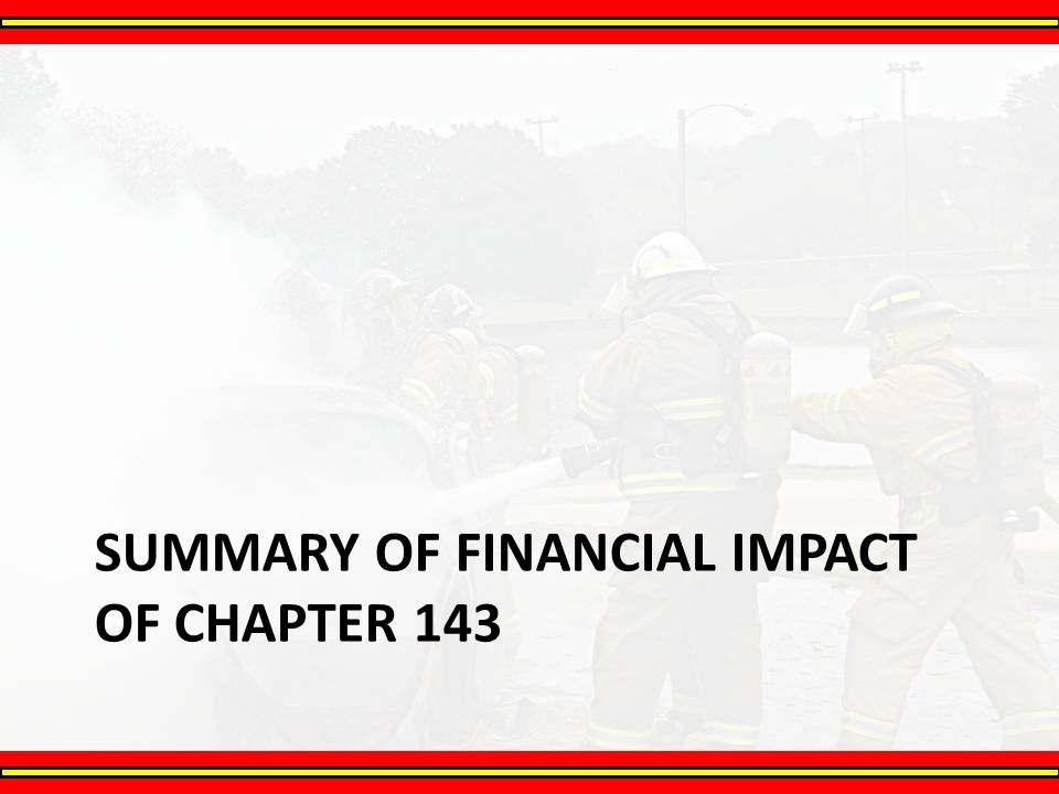 Summary of financial impact of chapter 143