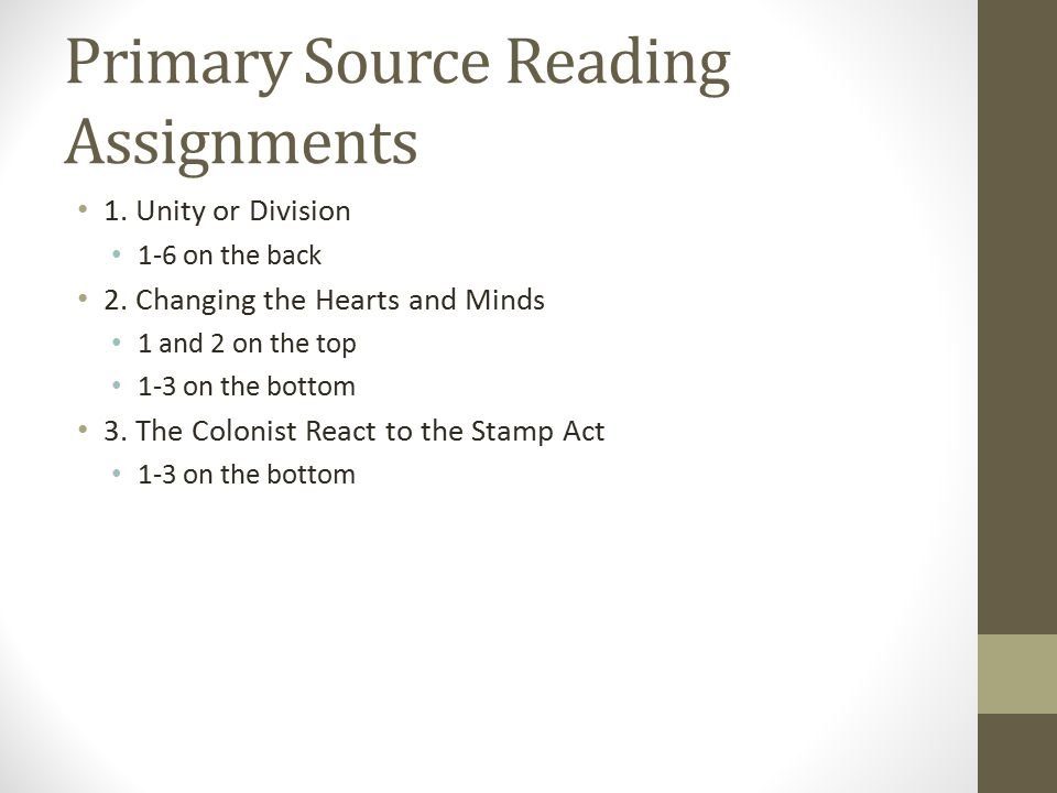 Primary Source Reading Assignments