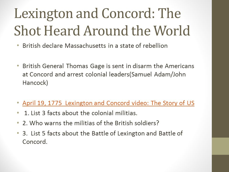 Lexington and Concord: The Shot Heard Around the World