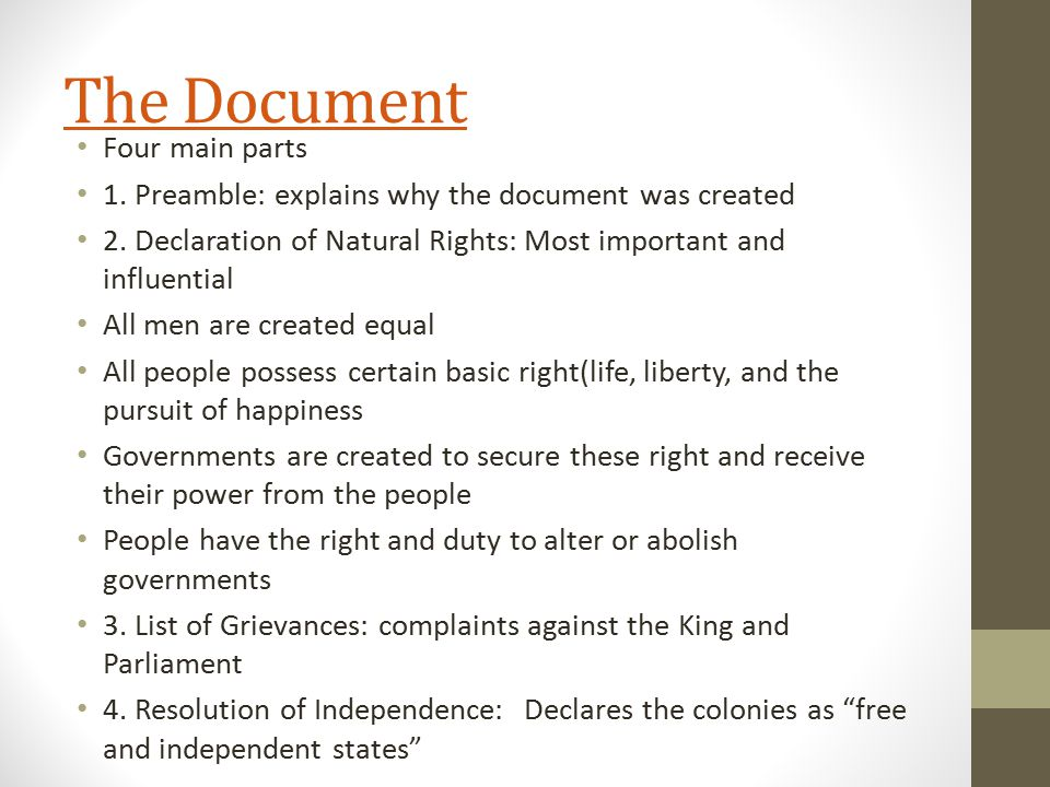 The Document Four main parts