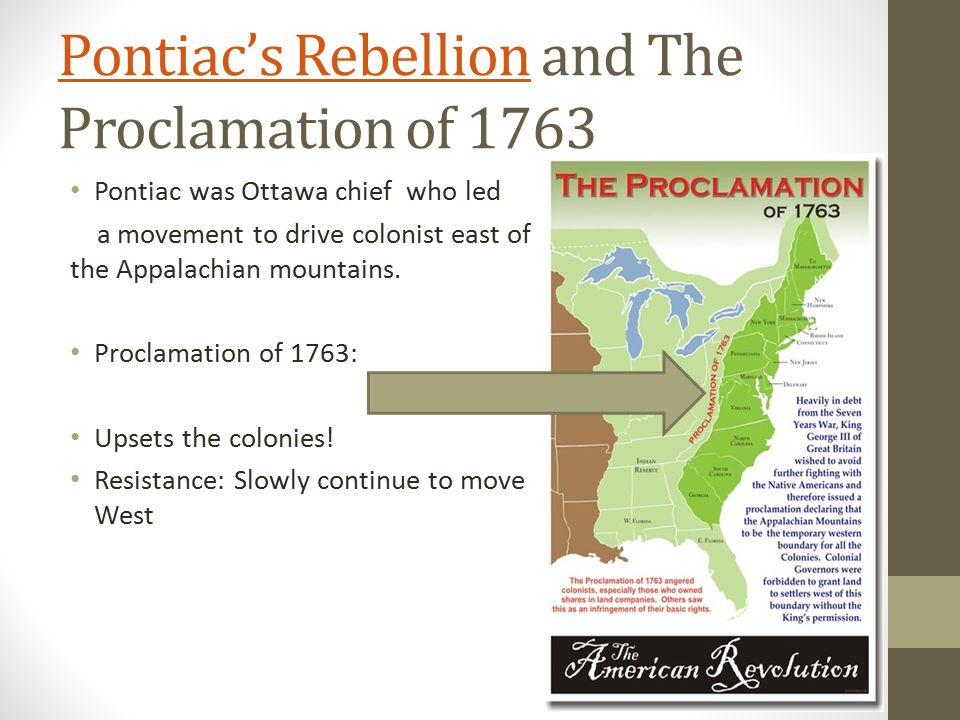 Pontiac's Rebellion and The Proclamation of 1763