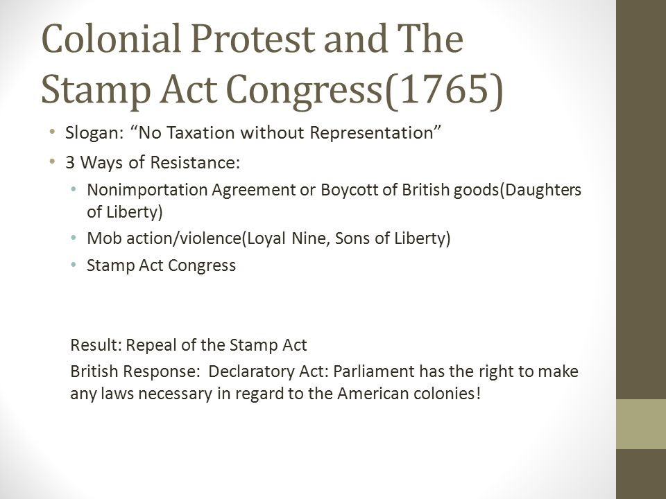 Colonial Protest and The Stamp Act Congress(1765)