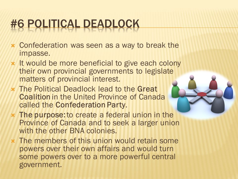 #6 Political Deadlock Confederation was seen as a way to break the impasse.