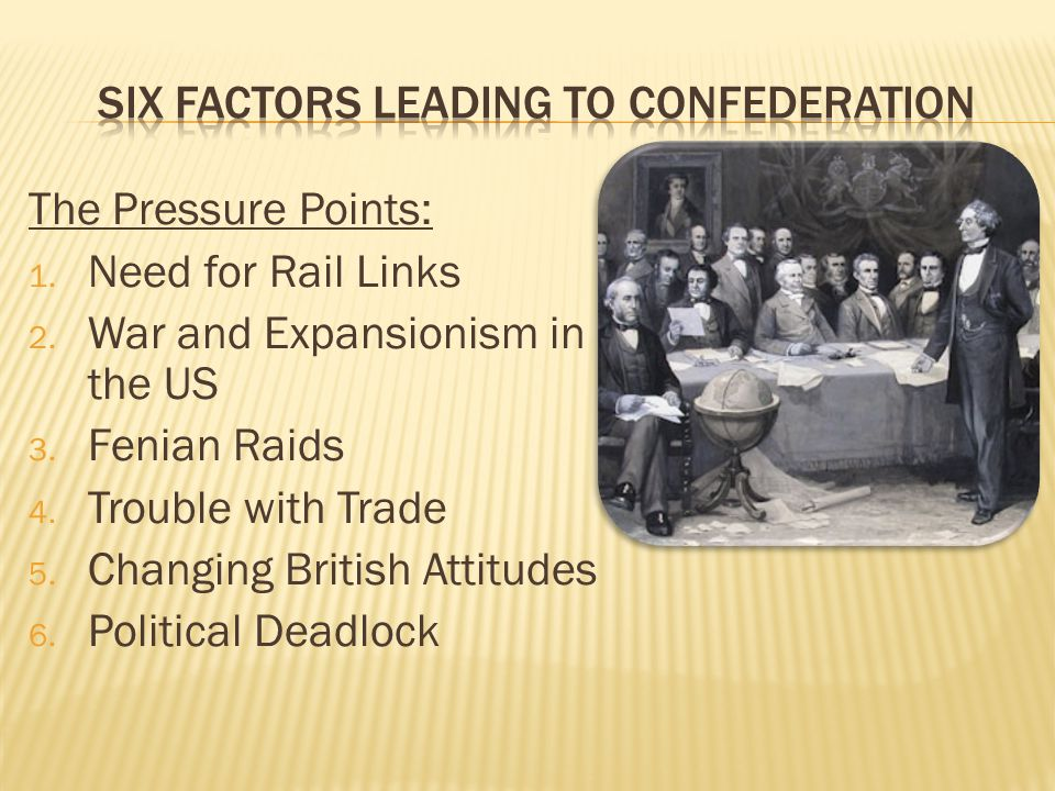 Six Factors leading to confederation