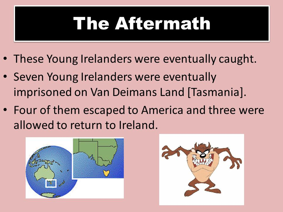 The Aftermath These Young Irelanders were eventually caught.