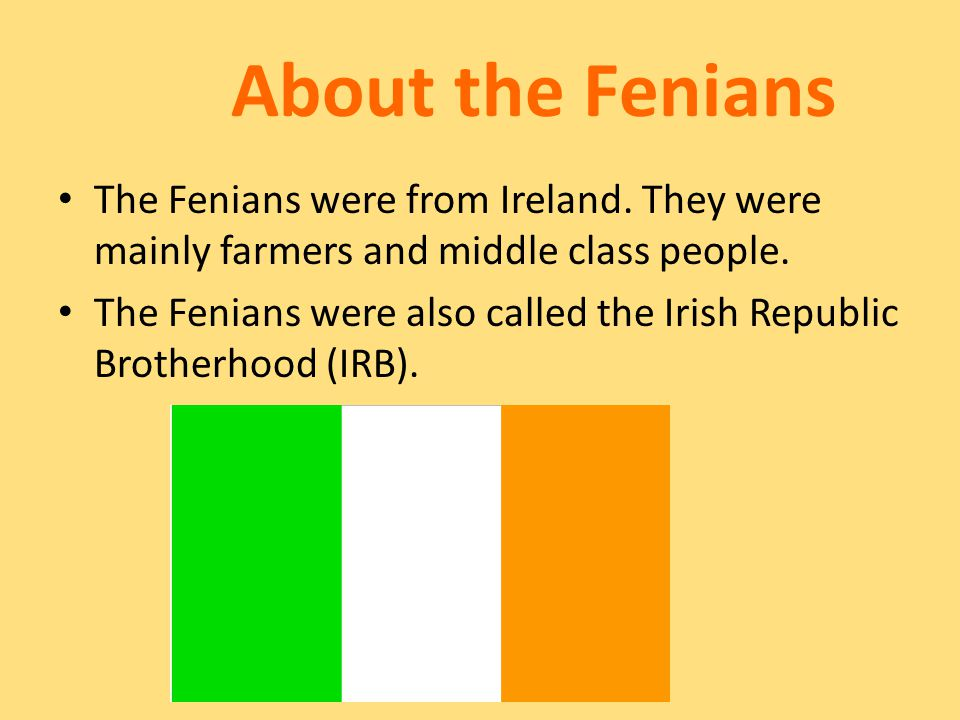 About the Fenians The Fenians were from Ireland. They were mainly farmers and middle class people.