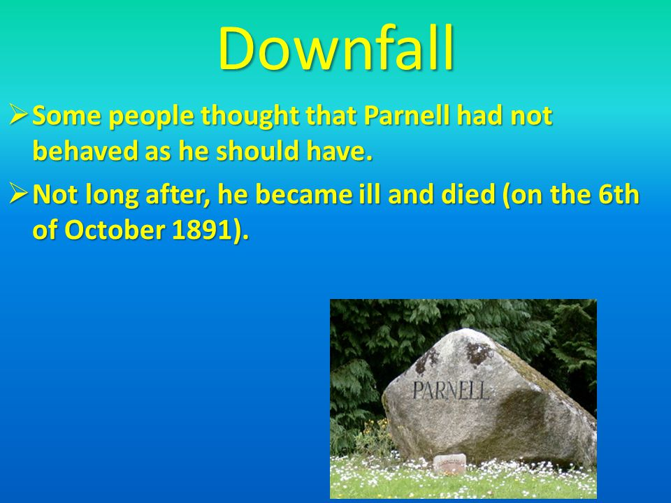 Downfall Some people thought that Parnell had not behaved as he should have.