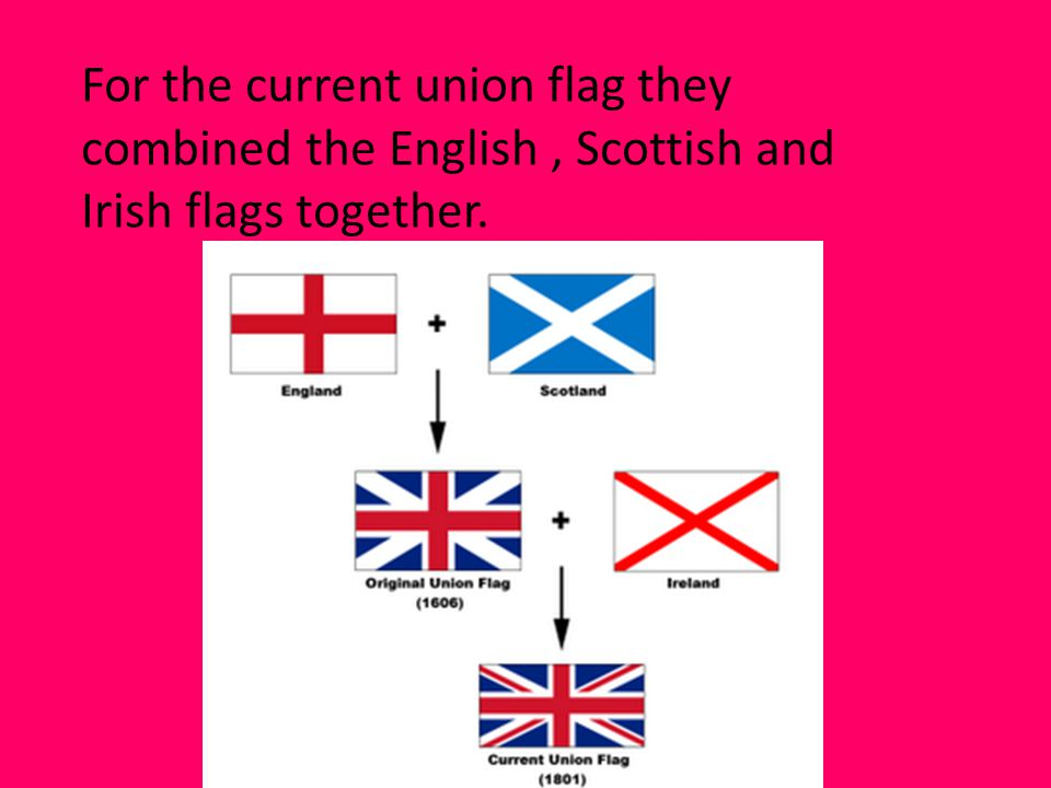 For the current union flag they combined the English , Scottish and Irish flags together.