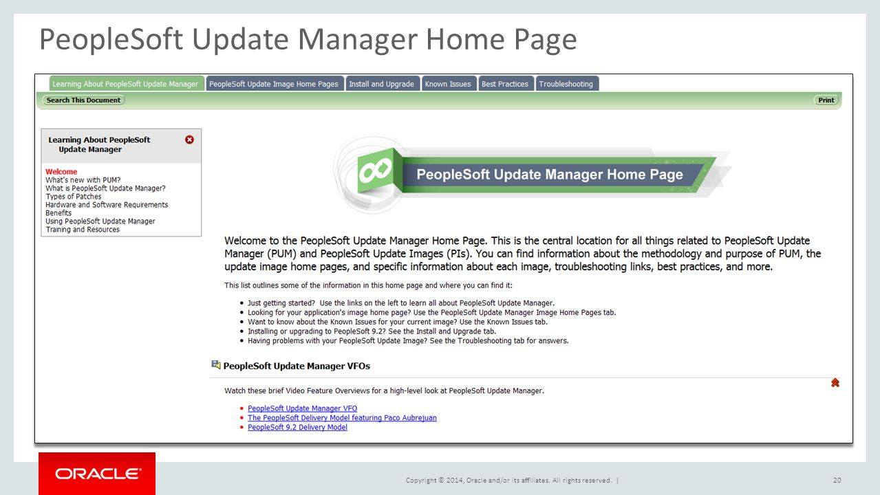 PeopleSoft Update Manager Home Page