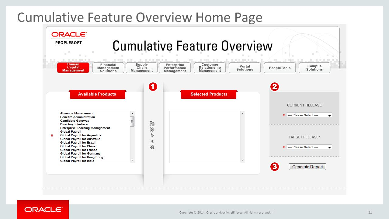 Cumulative Feature Overview Home Page