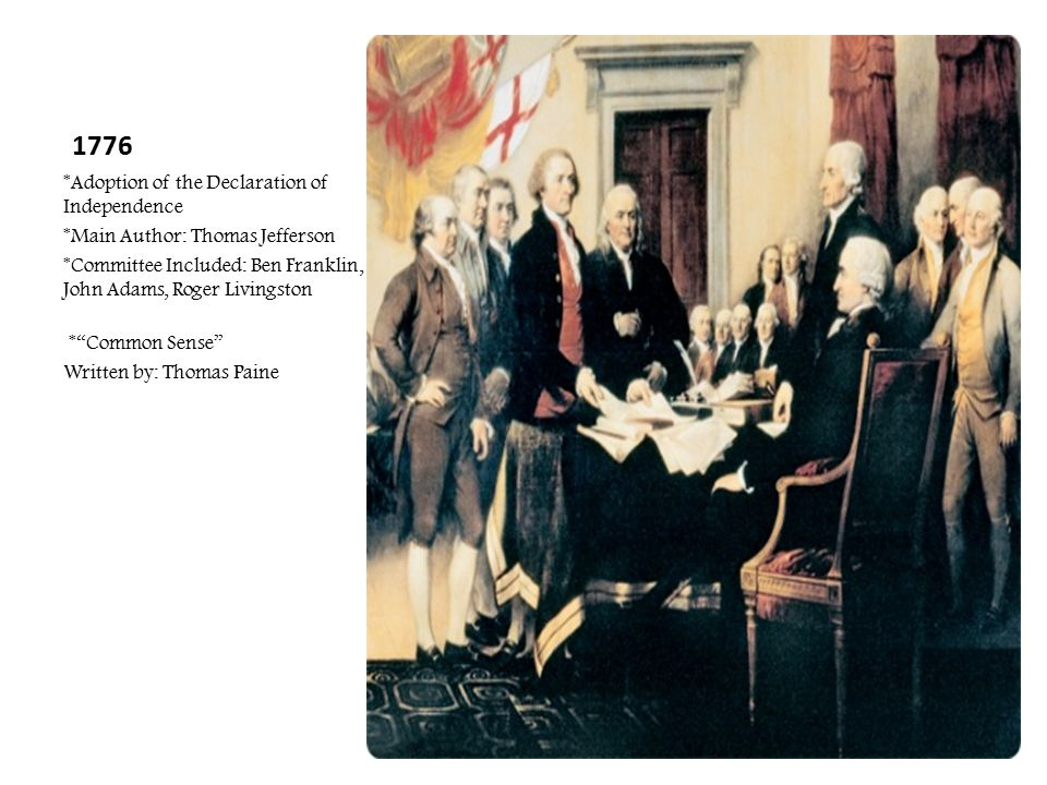 1776 *Adoption of the Declaration of Independence