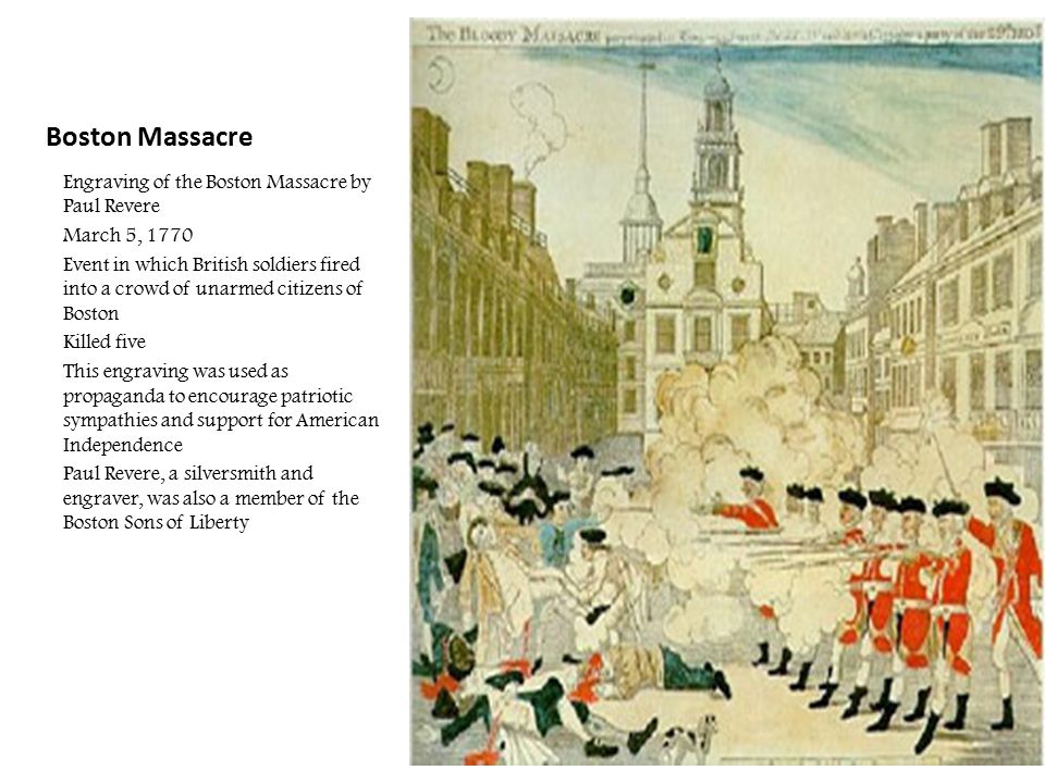 Boston Massacre Engraving of the Boston Massacre by Paul Revere