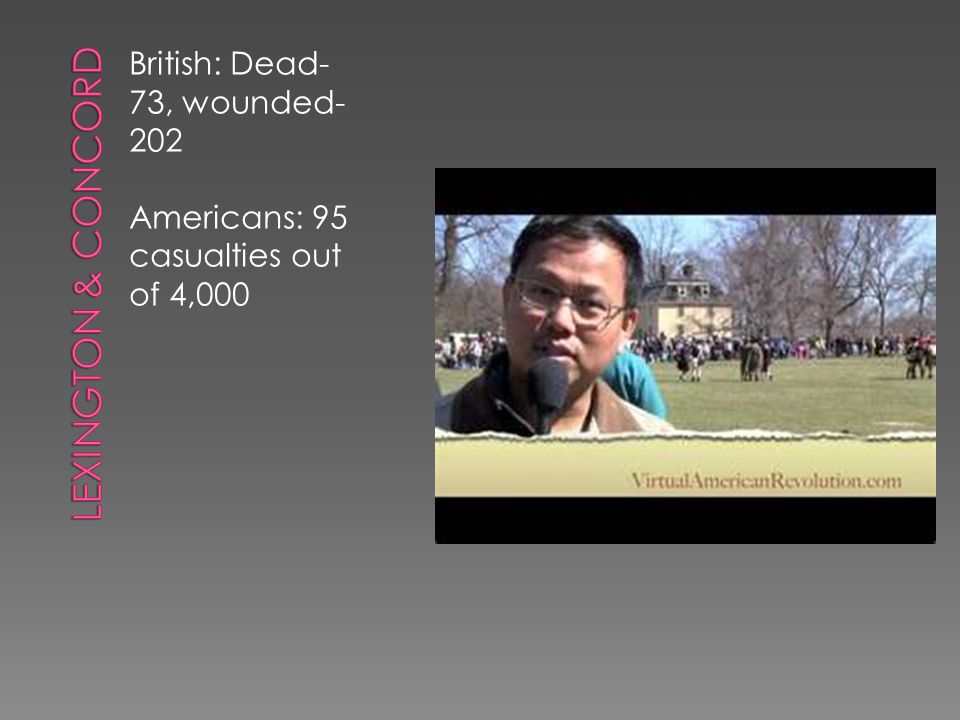 Lexington & Concord British: Dead- 73, wounded-202