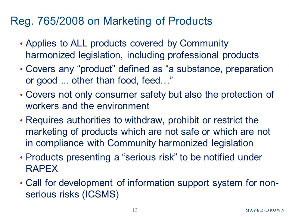 Reg. 765/2008 on Marketing of Products