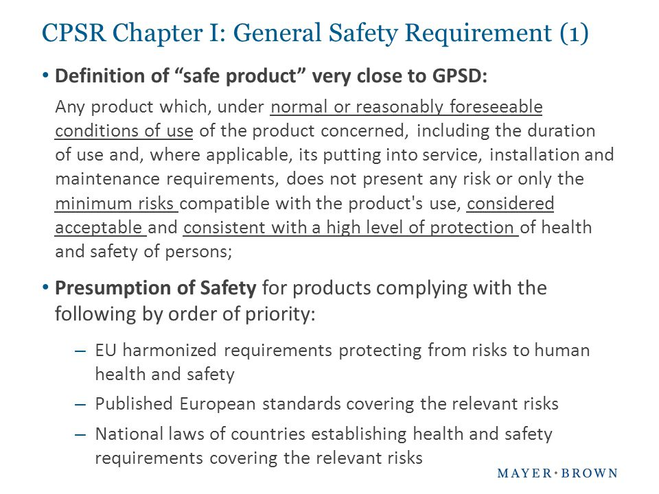 CPSR Chapter I: General Safety Requirement (1)