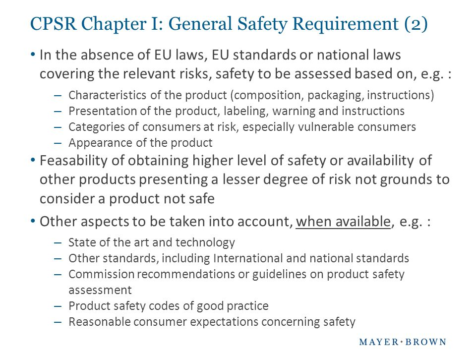CPSR Chapter I: General Safety Requirement (2)