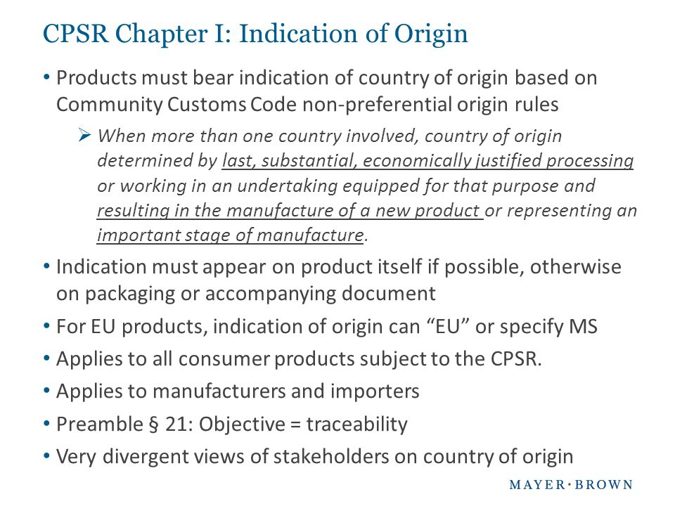 CPSR Chapter I: Indication of Origin
