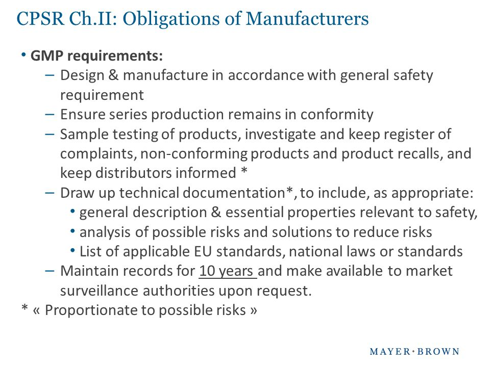 CPSR Ch.II: Obligations of Manufacturers