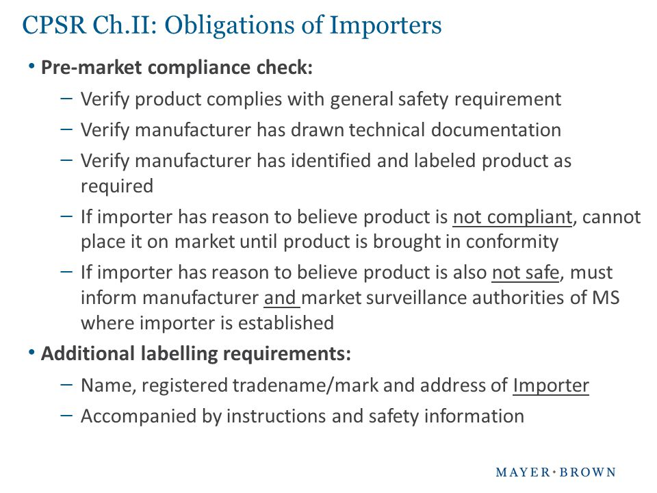 CPSR Ch.II: Obligations of Importers