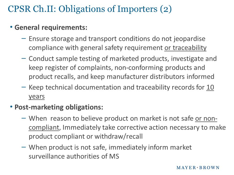 CPSR Ch.II: Obligations of Importers (2)