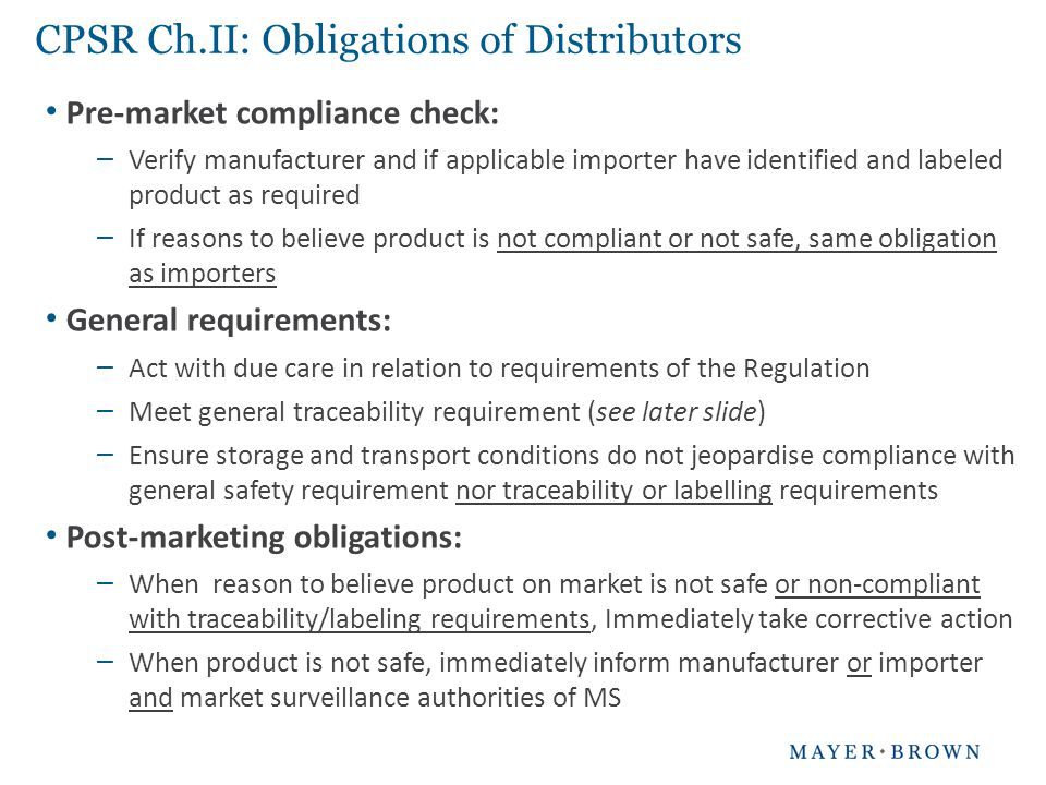 CPSR Ch.II: Obligations of Distributors