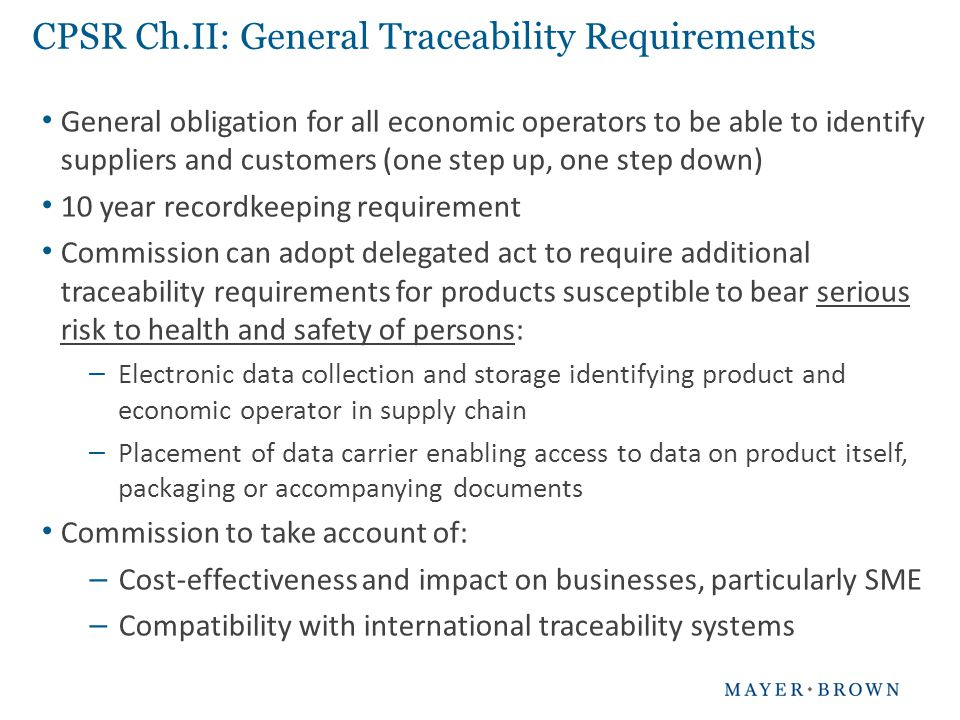 CPSR Ch.II: General Traceability Requirements