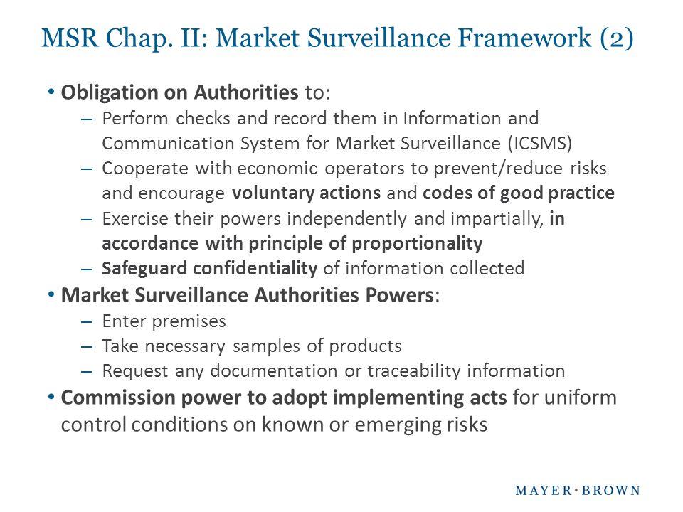 MSR Chap. II: Market Surveillance Framework (2)