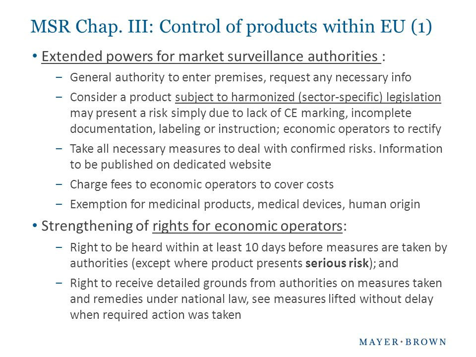 MSR Chap. III: Control of products within EU (1)