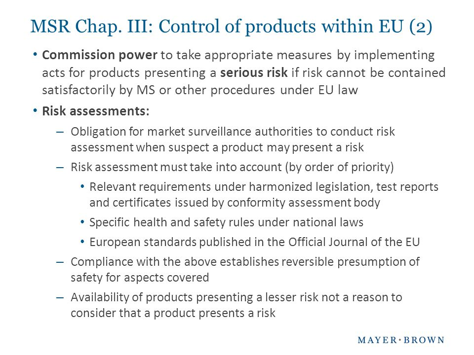 MSR Chap. III: Control of products within EU (2)