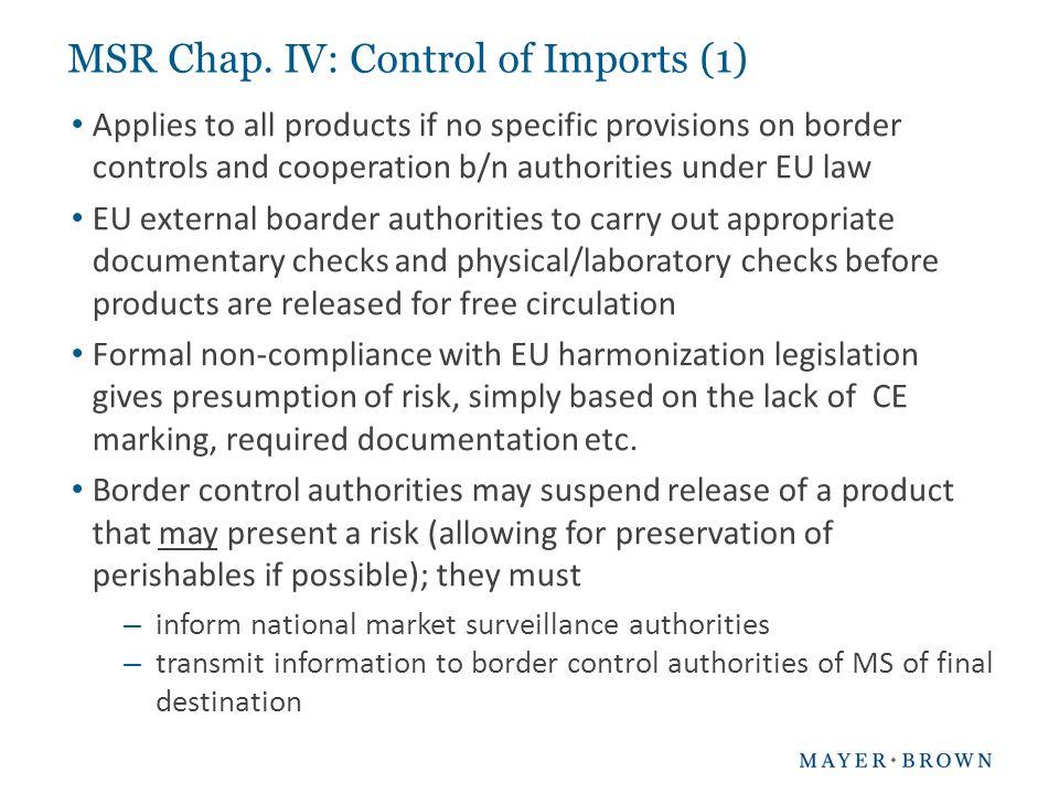 MSR Chap. IV: Control of Imports (1)