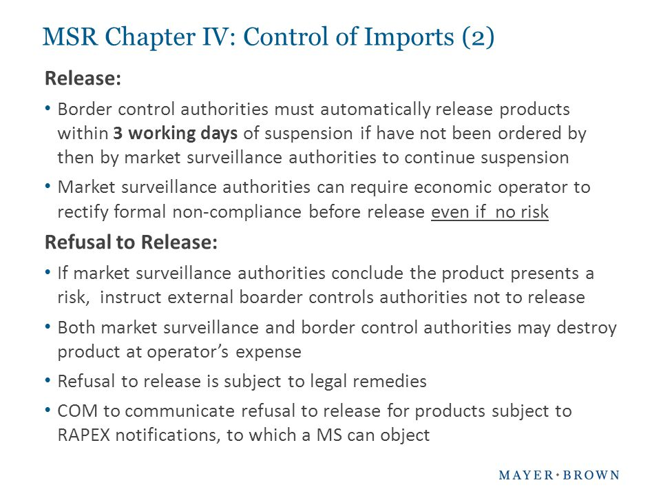 MSR Chapter IV: Control of Imports (2)