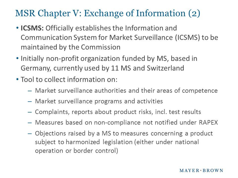 MSR Chapter V: Exchange of Information (2)