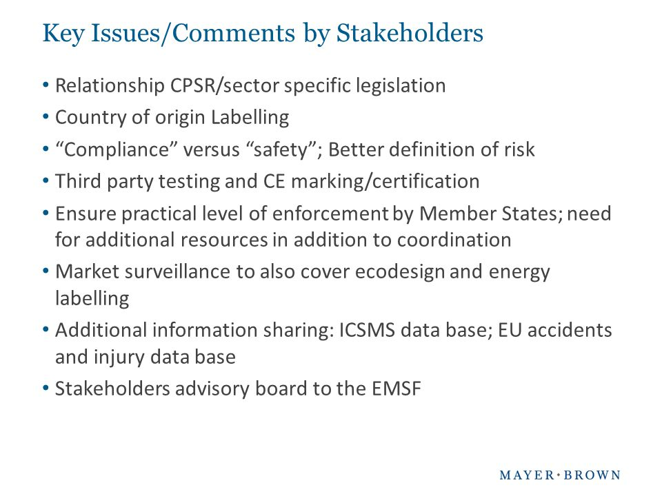 Key Issues/Comments by Stakeholders