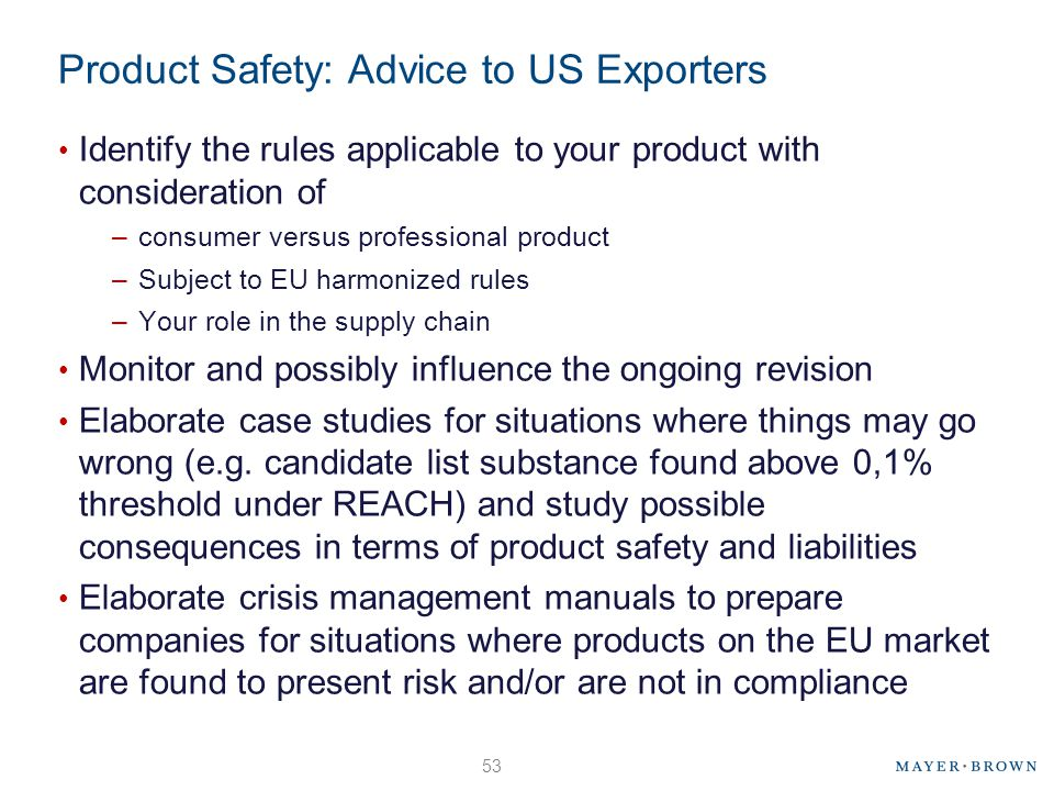 Product Safety: Advice to US Exporters