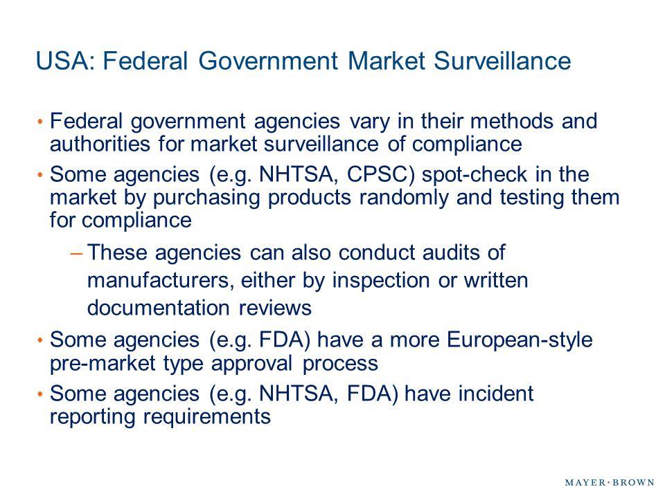 USA: Federal Government Market Surveillance