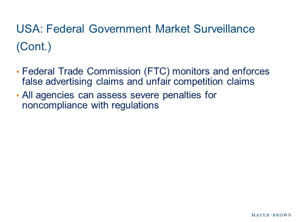 USA: Federal Government Market Surveillance (Cont.)